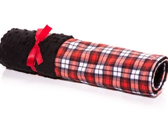 Red Swatch Plaid Receiving Blanket,Plaid Blanket, Swatch Plaid, Minky Blanket, Gender Neutral Blanket, Mimis, Minky Blanket READY TO SHIP