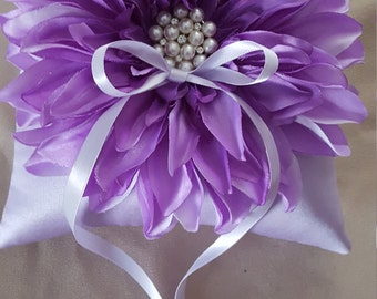Lavender Lilac Dahlia Ring Bearer Pillow Pearl Rhinestone Accent Wedding Ring Pillow