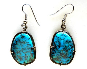 Fine Blue Turquoise and Silver Earrings
