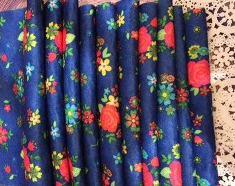 Blue Flowers   Fun Craft Rainbow Bamboo  Colorful  Printed Felt Sheet