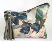 UPCYCLED Floral Clutch. Spring Bag. Recycled Leather. Floral Bag. Leather Tassel. Watercolour Print. Ready To Ship.