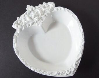 Vintage 1960's Handmade Ceramic Heart Dish