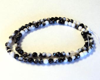 """Mexican Zebra Jasper 4mm Faceted Round Beads, 16"""" Strand, Black White Beads, Jewelry Supplies"""