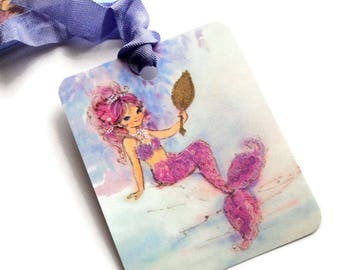 2 Gift Tags, Whimsical Mermaid Sea Nymph, Lavender Pink, Party Favors, Hang Tags, Handmade