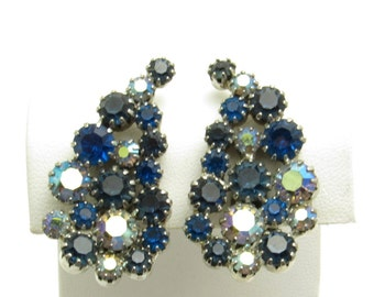 Vintage Blue Rhinestone Leaf Earrings Clip On Jewelry P7555