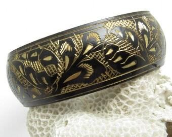 Wide Black Bangle Bracelet Vintage Jewelry Diamond Cut B7615