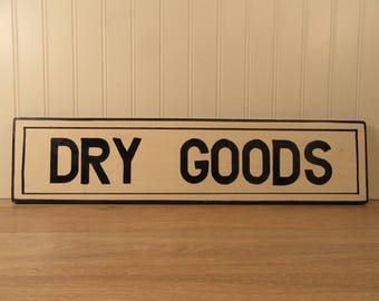 """Hand made rustic painted wood sign """"Dry Goods"""""""