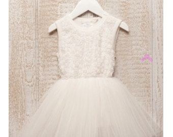 Off White flower girl dress christening dress special occasion dress