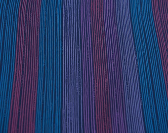 Funky Thin Stripes - Vintage Fabric New Old Stock Blues Purple Red