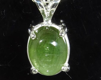 Natural Chatoyant Green Tourmaline 1.93 carats Handset in Sterling pendant w Sterling chain - NOW on SALE Fast Free Shipping with gift wrap