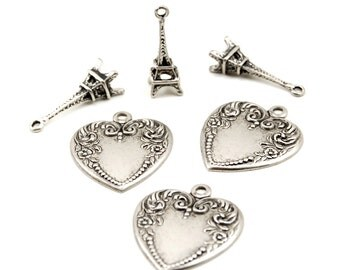 6 Pieces - Love in Paris Charms Set - Eiffel Tower and Fancy Victorian Style Hearts - Antiqued Silver