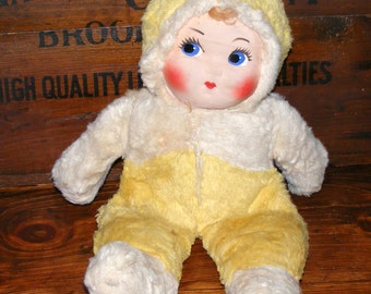 Vintage Pixie Snow Suit Baby Painted Face Plush Doll with Big Eyes
