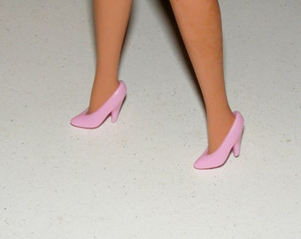 Vintage Barbie Powder Pink High Heel Shoes marked Hong Kong
