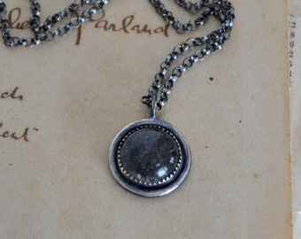 Tourmalinated Quartz Necklace Oxidized