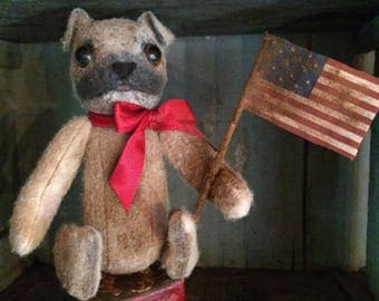 Reserved for N Primitive Old Pug Dog Doll and Flag with Block
