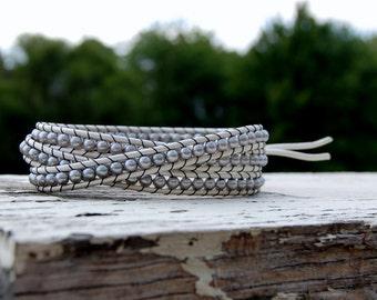 Boho Silver Wrap Bracelet