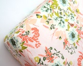 Pink, Peach and Coral Floral Fitted Crib Sheet, Mini Crib Sheet or Changing Pad Cover