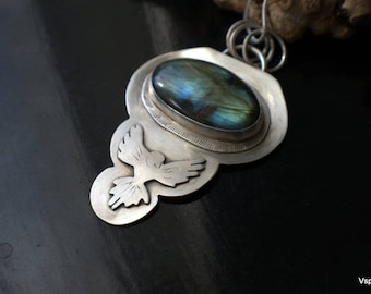 silver pendant big labradorite bird wings artisan jewelry original handmade Eco friendly