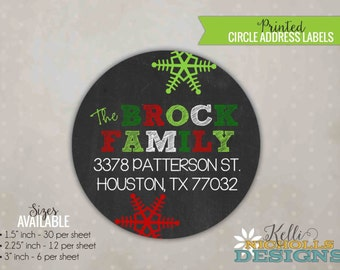 Modern Snowflake Chalkboard Christmas Address Label, Custom Return Address Holiday Envelope Sticker, Red and Green