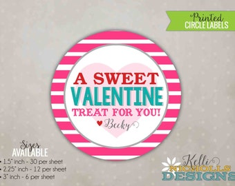 Custom Stripes Valentine's Day Sticker, Personalized Treat Bag Circle Labels, Pink Stripes