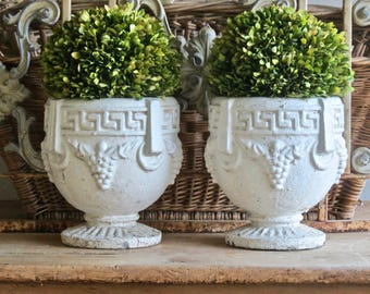 Fabulous Old And Weathered Interior Design........Pair Of Greek Key Concrete Urns