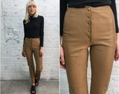 vintage 70s camel leather pants / tight fitted leather pants / snap front leather pants