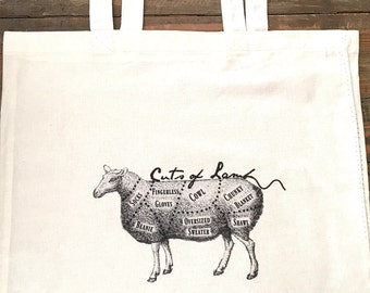 Yarn project bag, cuts of lamb tote.