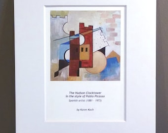 Pablo Picasso Version of the Hudson Ohio Clocktower, Cubism, 10x8 inches, Art Print, Matted, by Hudson Ohio Artist Karen Koch
