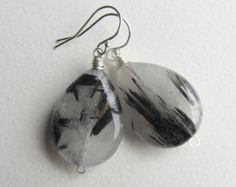 Rutilated Quartz Earrings with Sterling Silver - Black and White Natural Gemstone Jewelry Handmade in Seattle - Smooth Stone - Alt Wedding