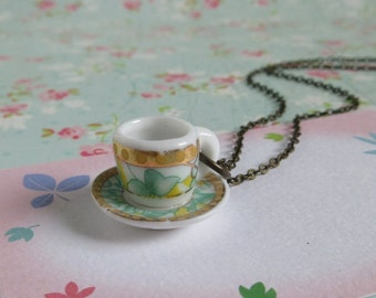 Royal Tea Cup Necklace, Golden And Mint, Miniature Coffee Cup Pendant On Brass Chain, Tea Party Jewelry