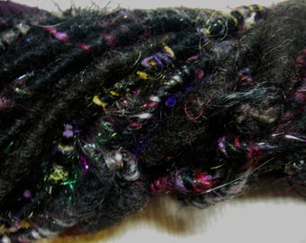 Handspun Corespun Bulky Party Art Yarn in Black with Pink and Purple Sparkle by KnoxFarmFiber for Knit Crochet Weave Embellishment