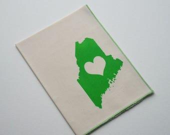Organic Cotton Hanky Maine Love Handkerchief Mens Hankie Wedding Favor Hankerchief