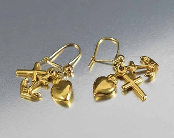 Antique Gold Charm Earrings, 9K Gold Anchor Cross Heart Victorian Earrings, Faith Hope Love Pendants, Love Token Charms Drop Dangle Earrings
