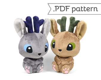 Jackalope Jackrabbit Antelope Bunny Rabbit Wolpertinger Plush Sewing Pattern .pdf Tutorial
