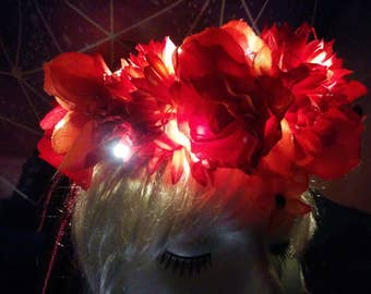Fall Fairy Flower Crown with Lights