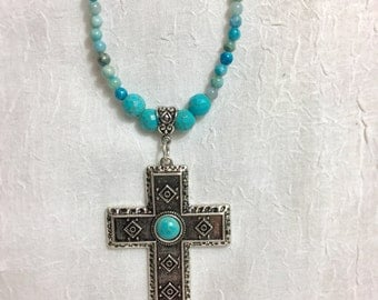 Turquoise silver tone cross  inspired Necklace-free shipping USA