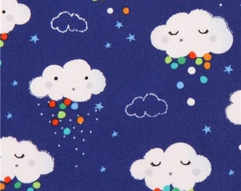 203478 dark blue cloud dot star Michael Miller fabric