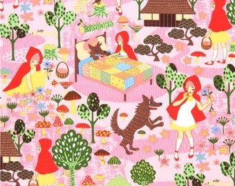 213909 pink cute colorful fairy tale Little Red Riding Hood wolf tree fabric