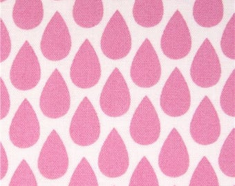 201797 white pink raindrop fabric by Michael Miller USA