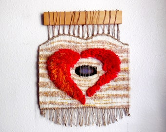 Original Design Hand Woven Wall Hanging..Heart and Jewel Hand Woven Art..Fiber Art..Wool Woven Wall Decoration..Red Heart with Natural Stone
