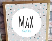 Modern Cross Blue Custom Wooden Framed Name Plaque/Door Sign Personalized Nursery Art