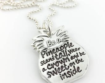 Be a Pineapple Inspirational Necklace – fine silver