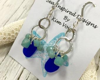 Sea Glass Earrings Sterling Silver Hoop Chandelier