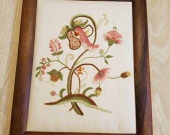 Vintage Framed Floral Crewel, Flower Picture, Retro Crewel, Vintage Stitchery, Flower Crewel