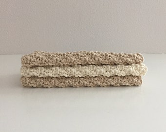 Set of 3 cotton knit washcloths - cream and heather beige  kitchen dishcloths