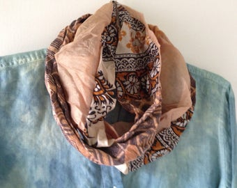 Infinity scarf, women's tribal circle loop silk cotton brown gold beige cream black, Boho Bohemian fashion Lhasa Life's an Expedition i417