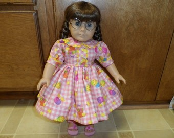 """Easter Eggs and Chicks on pink checked dress for your American Girl Doll or other 18"""" doll."""