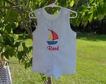 Boy's Jon Jon Romper Sizes 6 months - 4T Seersucker with sailboat Personalized
