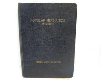 Vintage 1900s Union Pacific Railroad Popular Mechanics Hardback Magazine Protector Binder Holder Popular Mechanics Mag Keeper UPRR