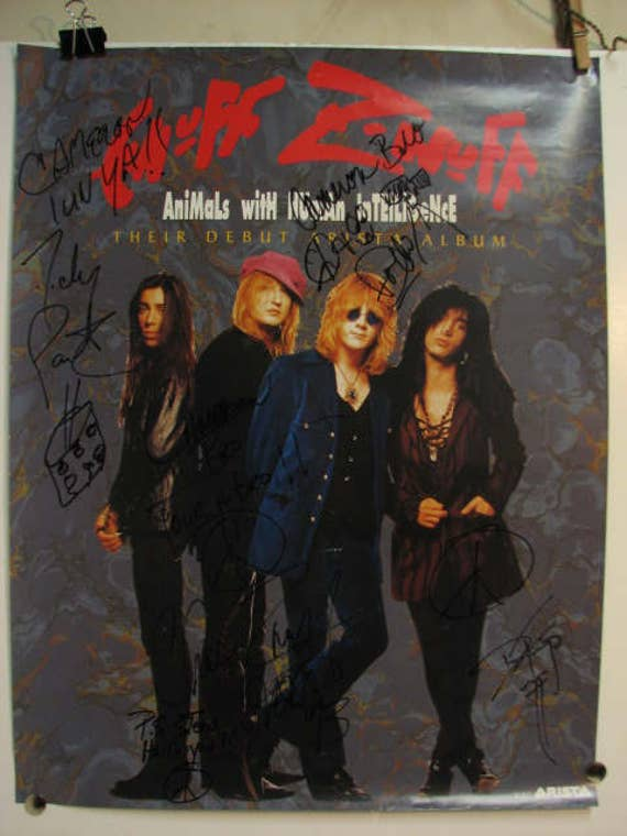 Enuff Znuff Signed by All 4 to Cameron Crow, Promo Poster Debut Animals with Human Intelligence Album, Jerry Maguire Movie